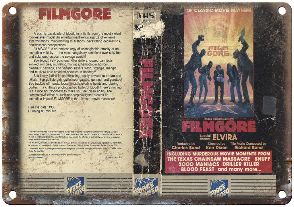 Filmgore Elvira Force Video VHS Box Art Metal Sign