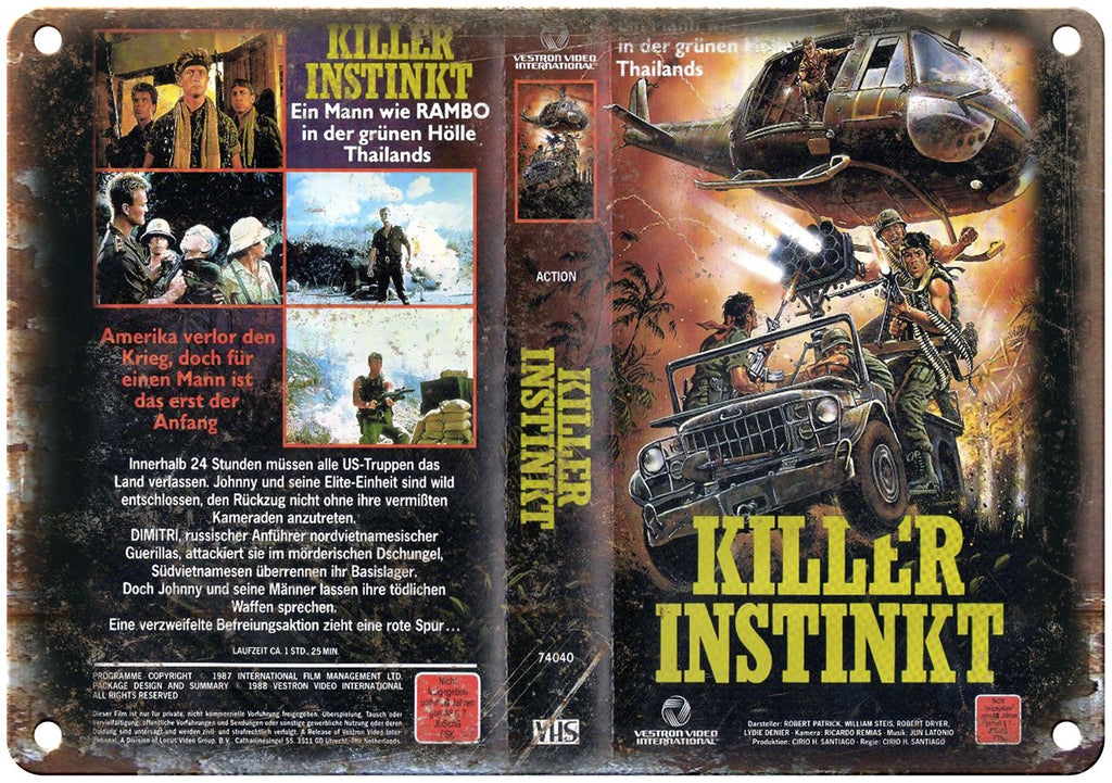 Killer Instinkt Vestron Video VHS Box Art Metal Sign
