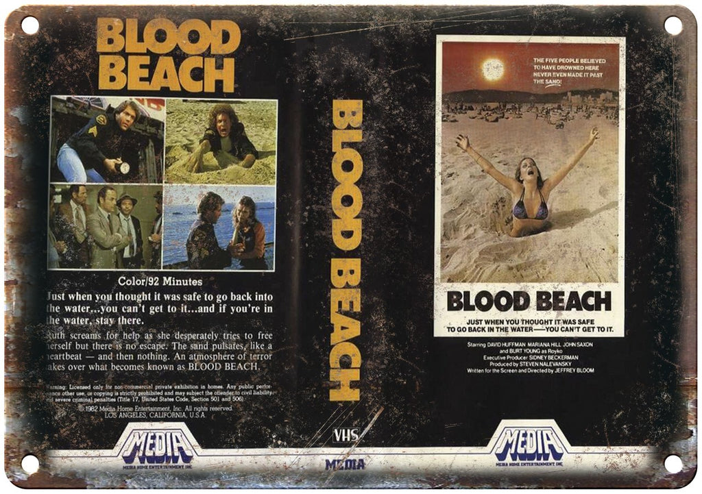 Media Home Entertainment Blood Beach VHS Metal Sign