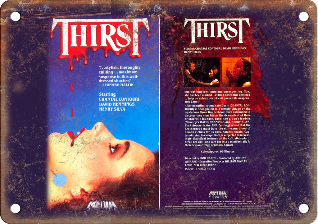 Thirst Vintage VHS Cover Art Metal Sign