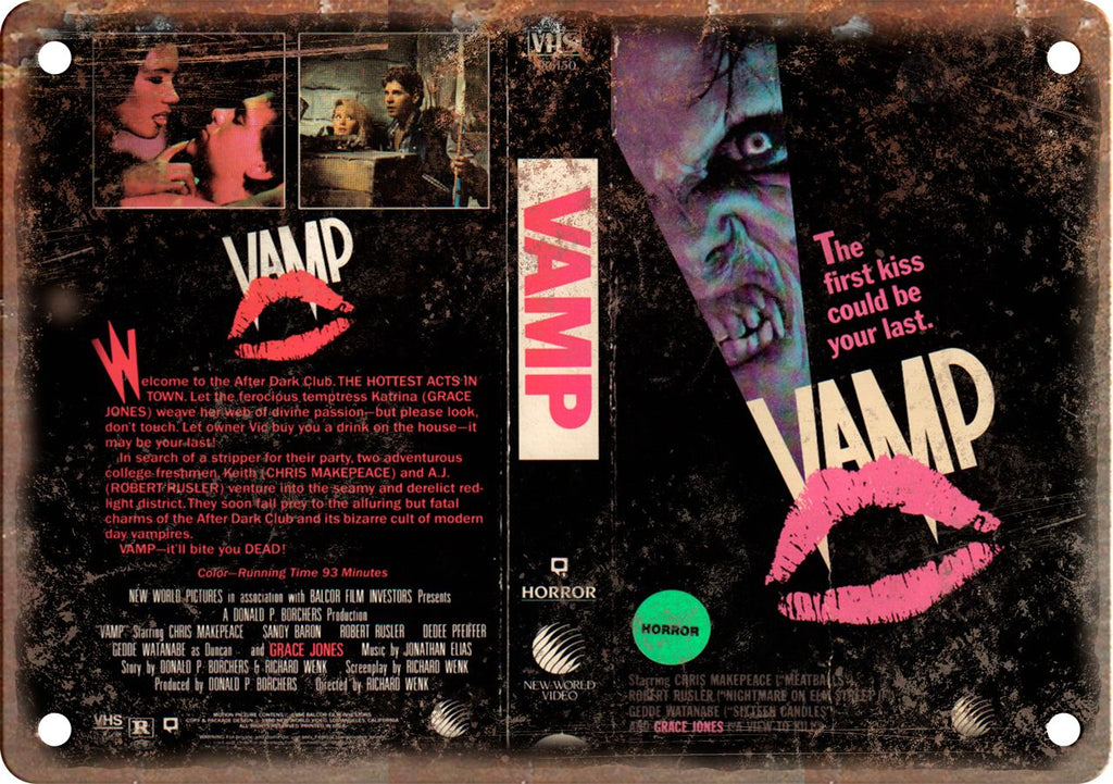 Vamp Horror Vintage VHS Cover Art Metal Sign