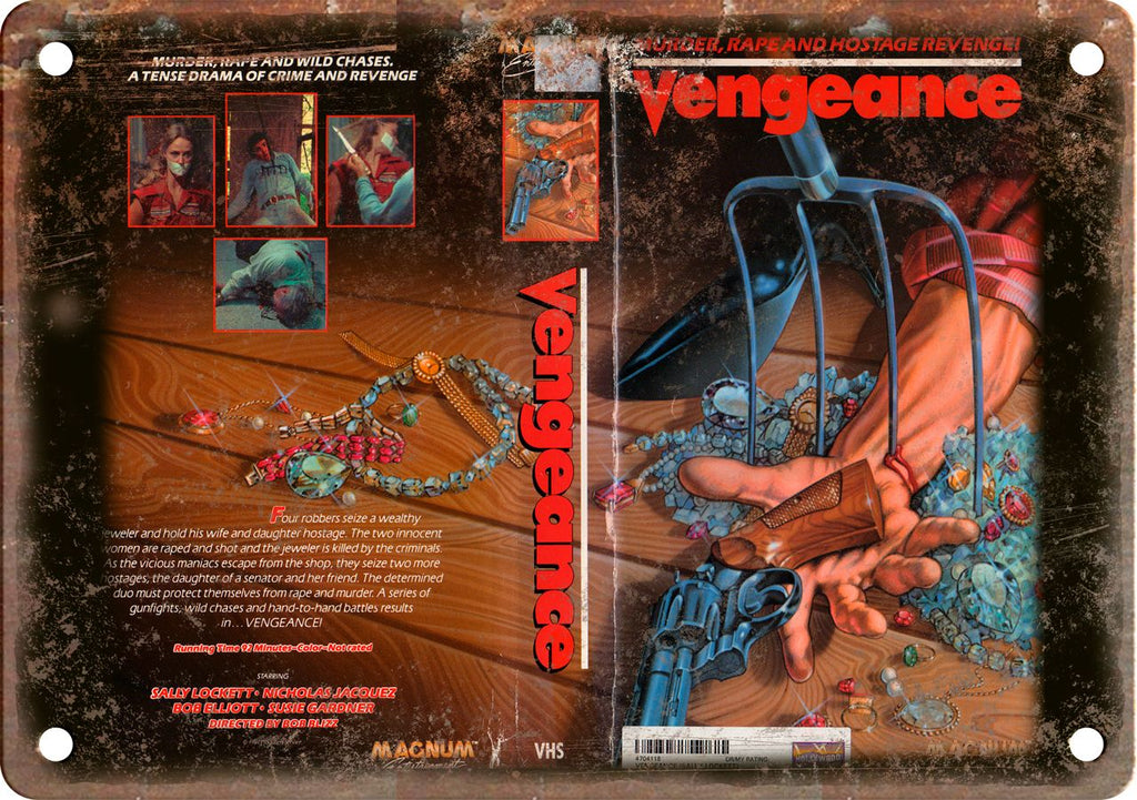 Vengeance Vintage VHS Cover Art Metal Sign