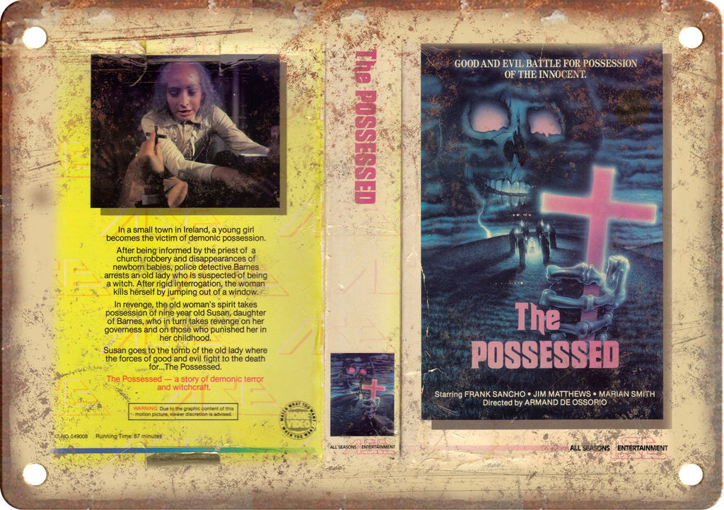The Possessed Vintage VHS Cover Art Metal Sign