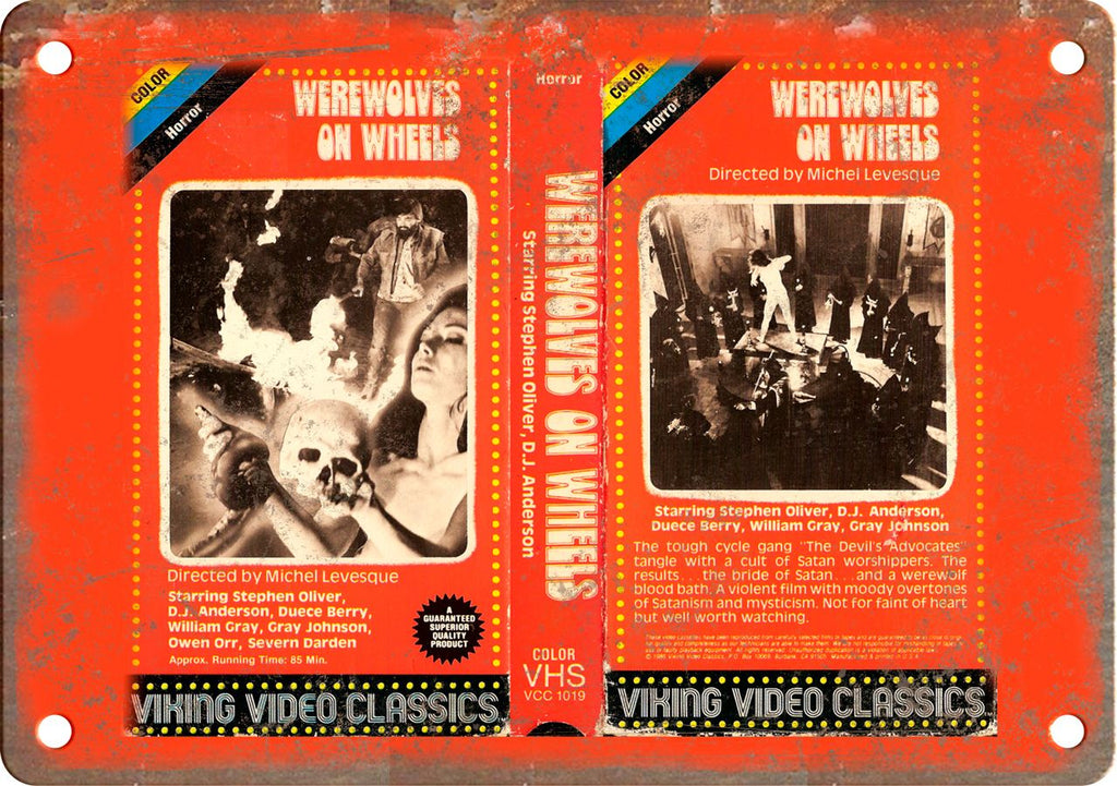 Werewolves of Wheels Vintage VHS Cover Art Metal Sign