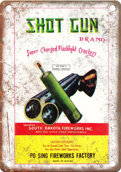 Shotgun Brand Firework Wrapper Art Metal Sign