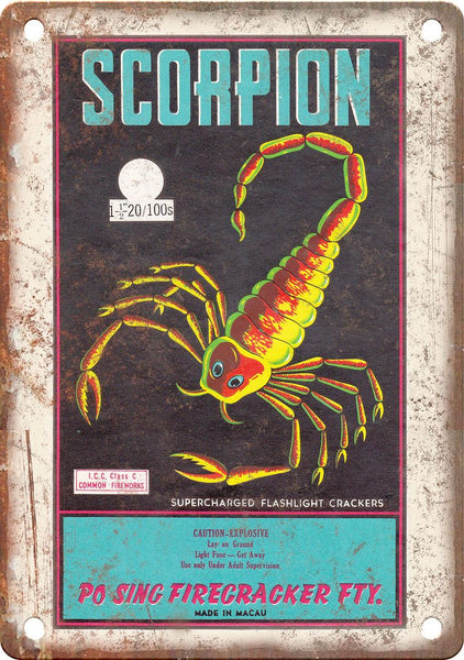 Scorpion Firecracker Wrapper Art Metal Sign