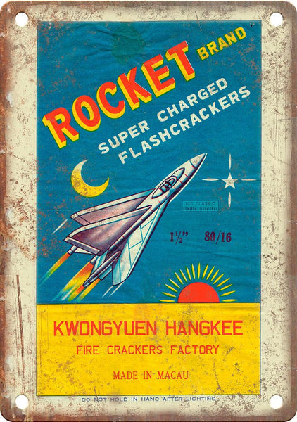 Rocket Brand Firecracker Wrapper Art Metal Sign