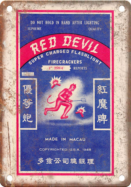Red Devil Firecracker Wrapper Art Metal Sign