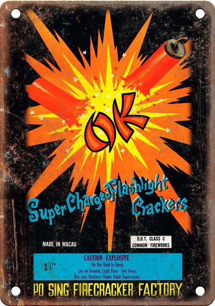 OK Brand Firework Package Art Metal Sign