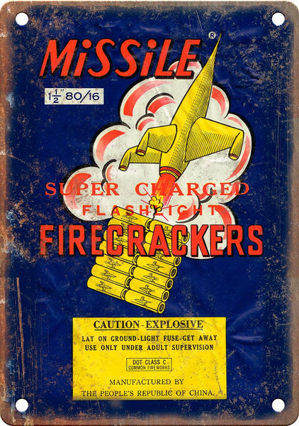 Missle Firework Package Art Metal Sign