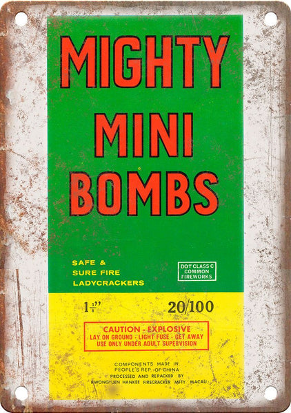Mighty Mini Firework Pacakage Art Metal Sign