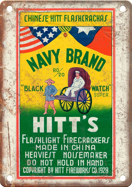 Navy Brand Firecracker Package Art Metal Sign