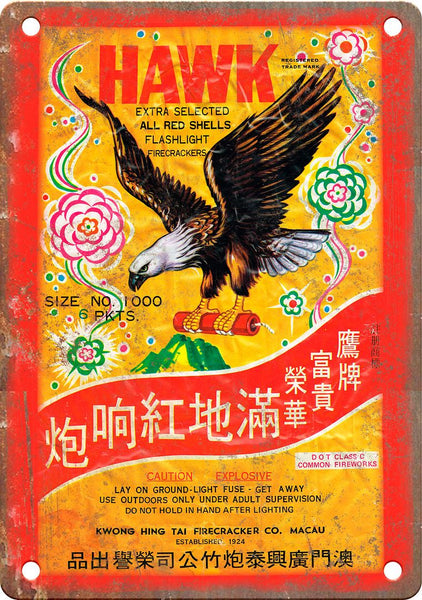 Hawk Brand Firework Package Art Metal Sign