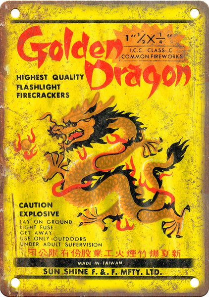 Golden Dragon Firework Package Art Metal Sign