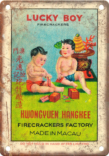 Lucky Boy Firecracker Wrapper Art Metal Sign