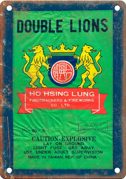Double Lions Firework Wrapper Art Metal Sign