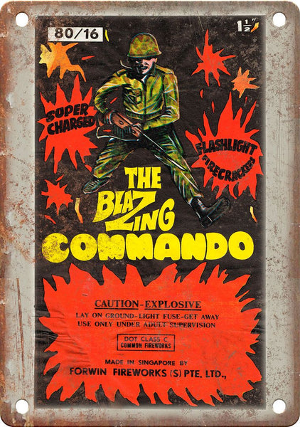 Blazing Commando Firework Wrapper Art Metal Sign