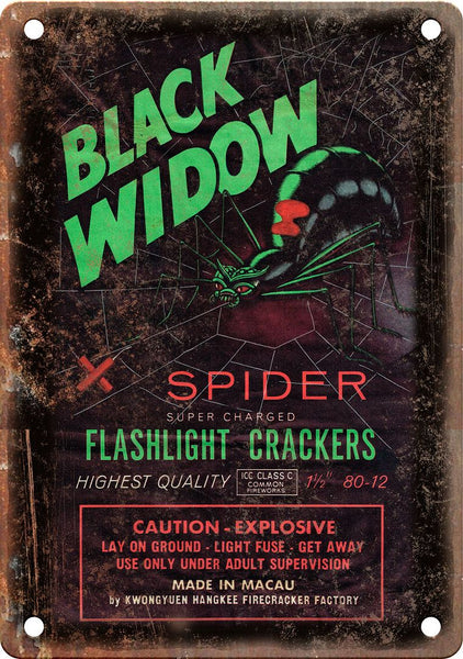 Black Widow Firecracker Package Art Metal Sign