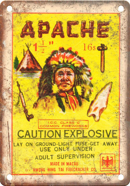 Apache Firework Wrapper Art Metal Sign