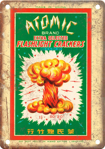 Atomic Brand Firecracker Package Art Metal Sign