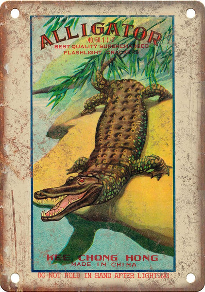 Alligator Firework Wrapper Art Metal Sign
