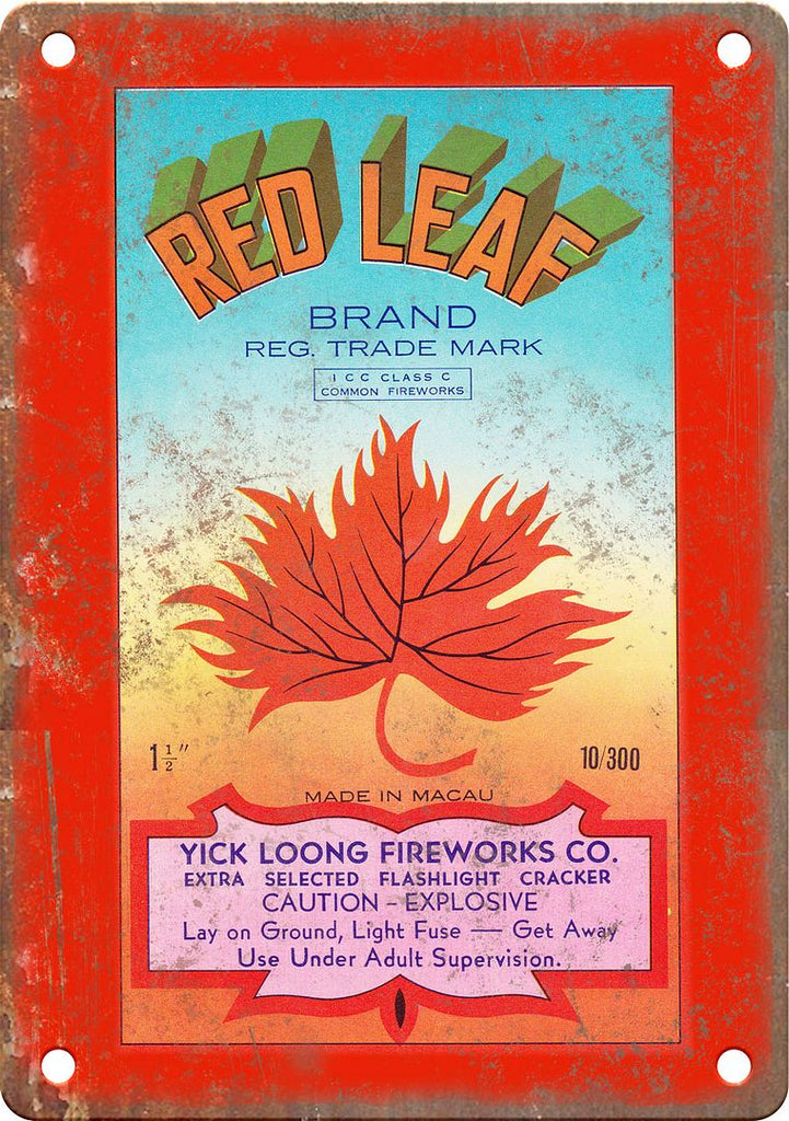 Red Leaf Brand Firecracker Package Art Metal Sign