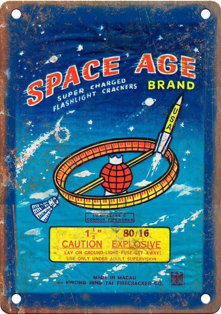 Space Age Brand Firecracker Package Art Metal Sign