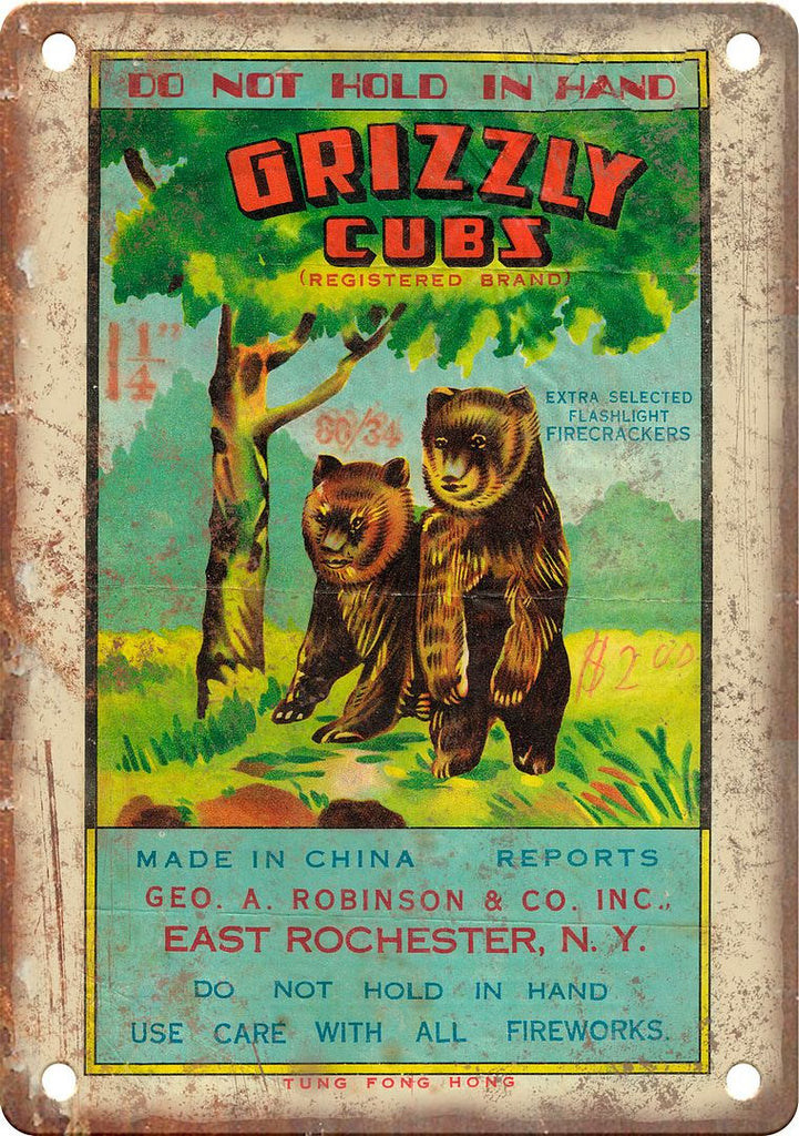 Grizzly Cubs Firecracker Package Art Metal Sign