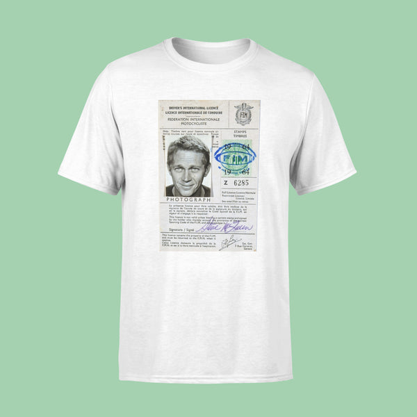 Steve McQueen International Drivers License T-Shirt White