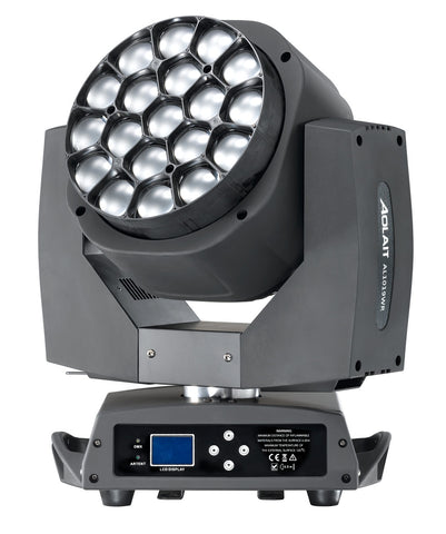 LED Moving Head Wash + Lens rotate 15 Watt RGBA 4 in 1 x 19