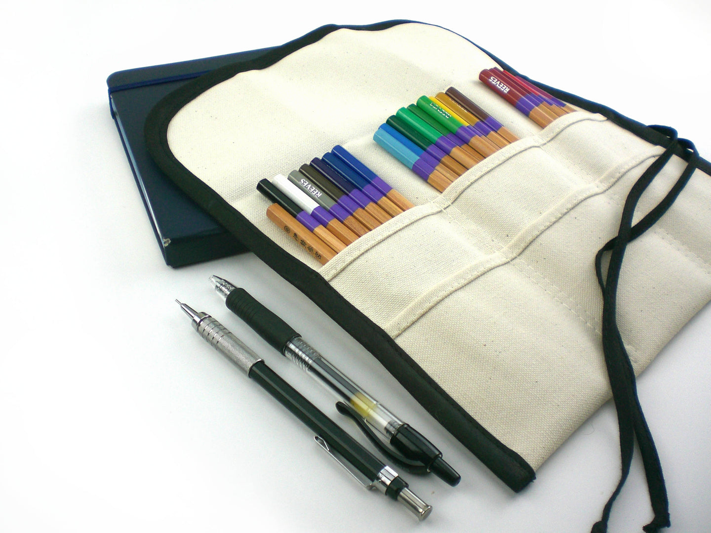 M / 24 Pencil Roll Up / Buy it For Life / Pen Roll / Natural with Black
