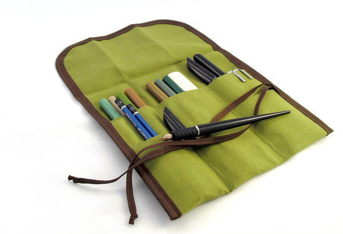 M / TALL Brush Pen Roll / Buy it For Life / Green with Brown