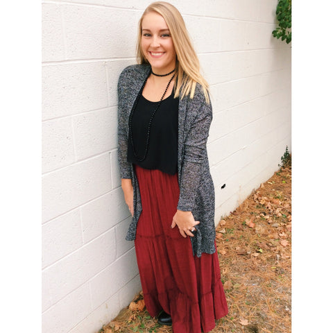 Tiered Burgundy Maxi Skirt