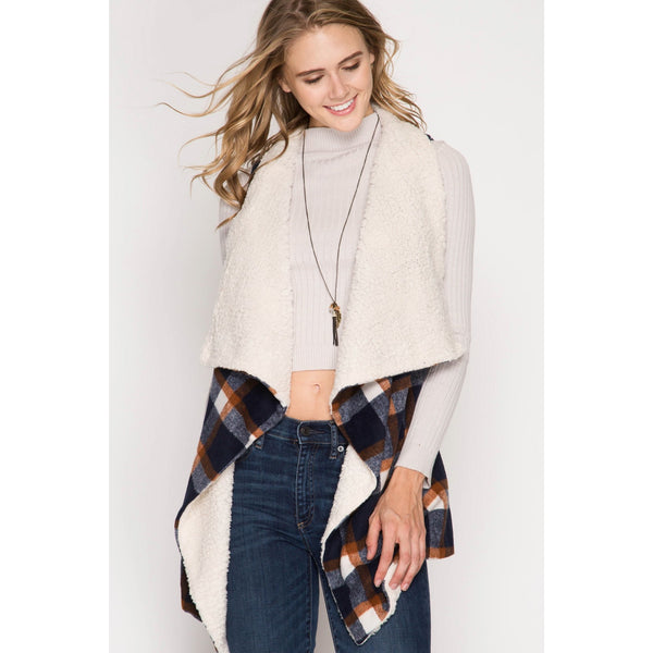 Mad For Plaid Vest In Navy