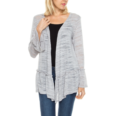 Gray Ruffled Cardigan