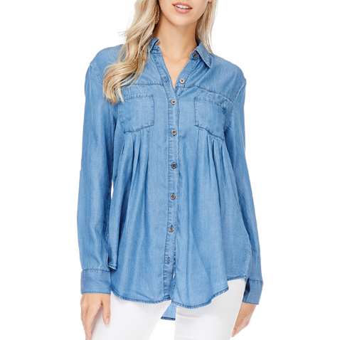 Denim Pleated Button-Down
