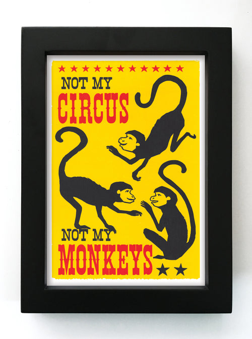 "Not My Monkeys 5"" x 7"" Framed Reproduction"