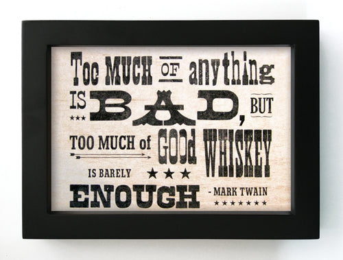 "Mark Twain Whiskey Quote 5"" x 7"" Framed Print"