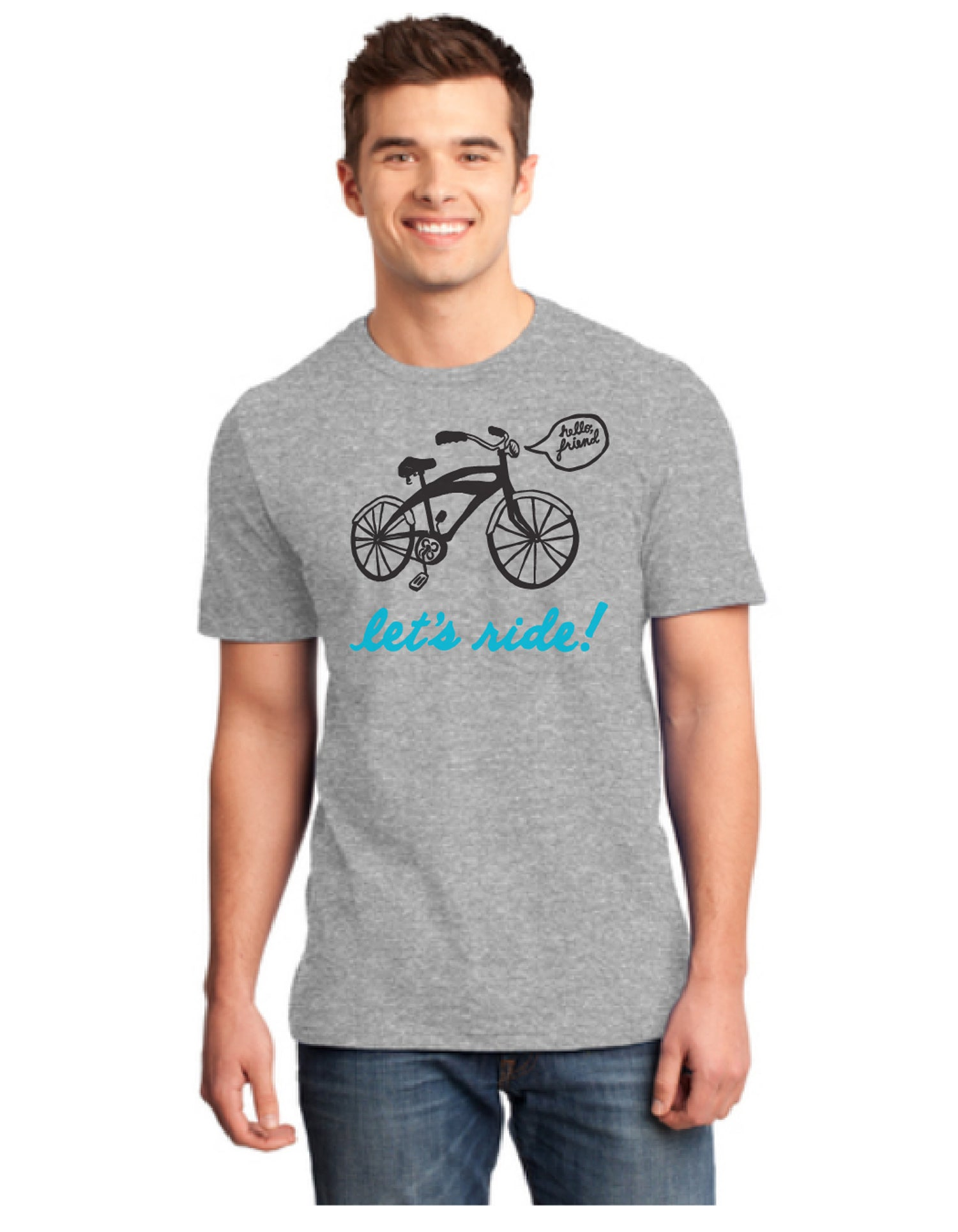 Let's Ride Bicycle, Short sleeve Crew Neck T-Shirt - MENS/UNISEX