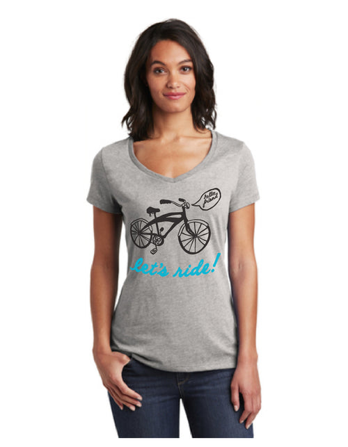 Let's Ride Bicycle, Short sleeve V-neck T-Shirt - WOMENS