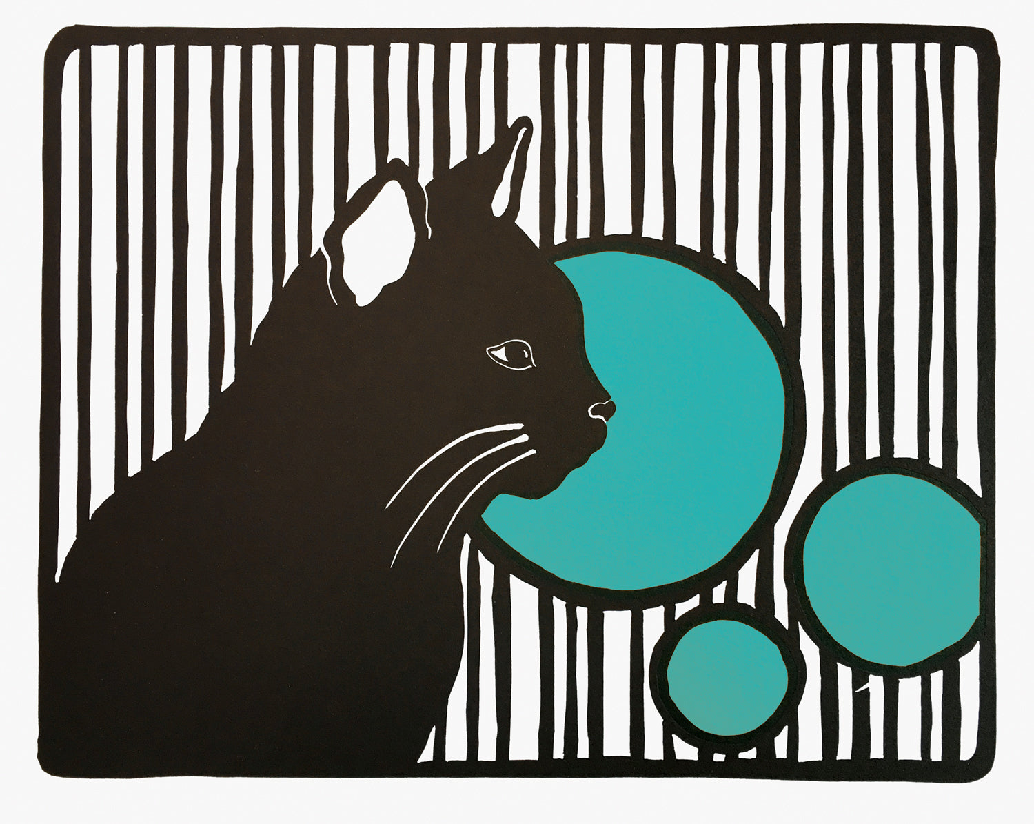 Cat with Stripes and Circles, Linocut Fine Art Print