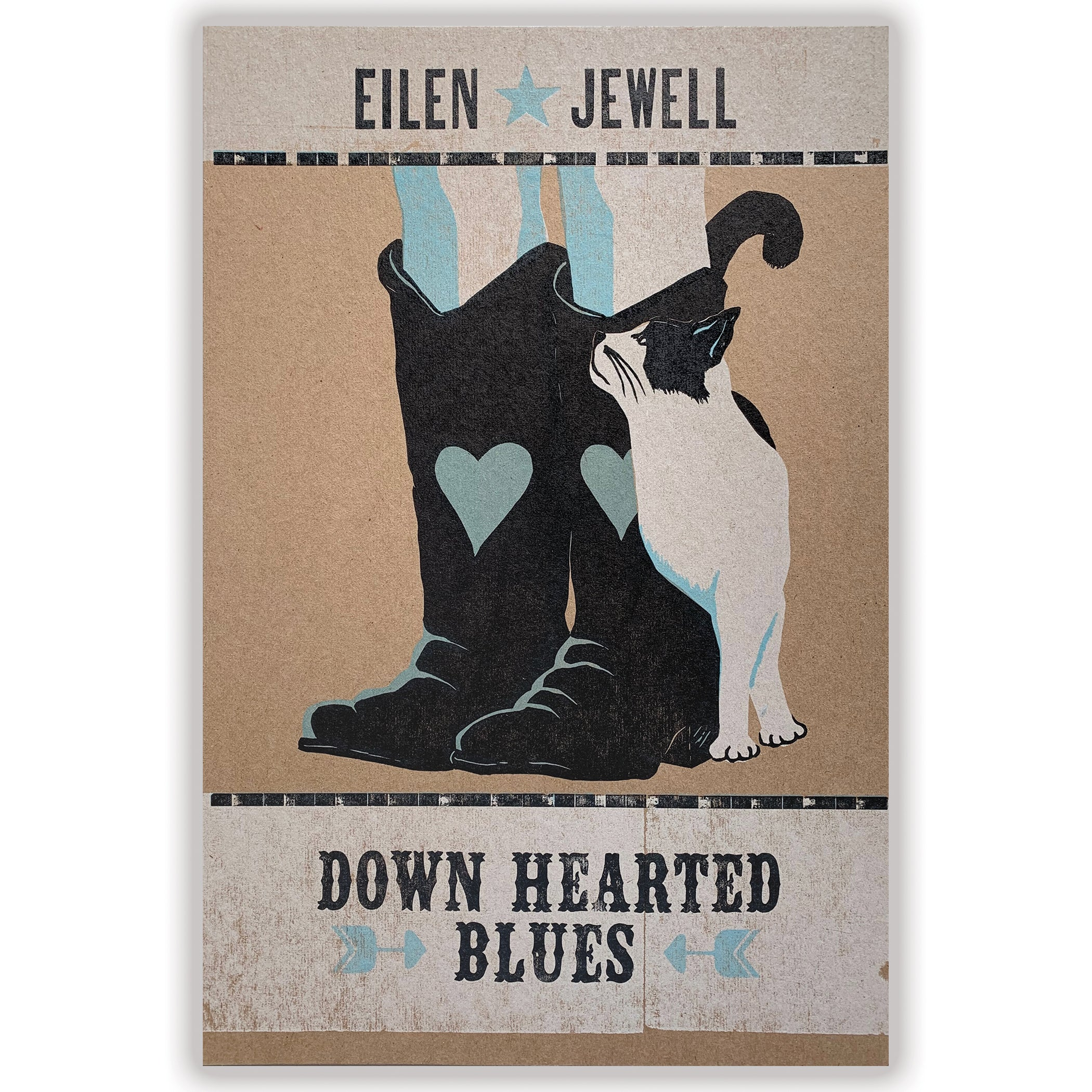 "Eilen Jewell ""Down Hearted Blues"" - Cat letterpress print"