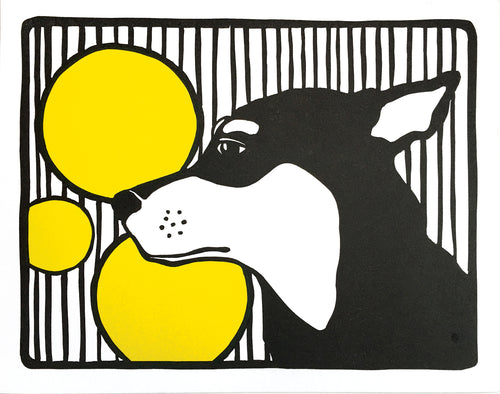 Dog with Stripes and Circles, Linocut Fine Art Print
