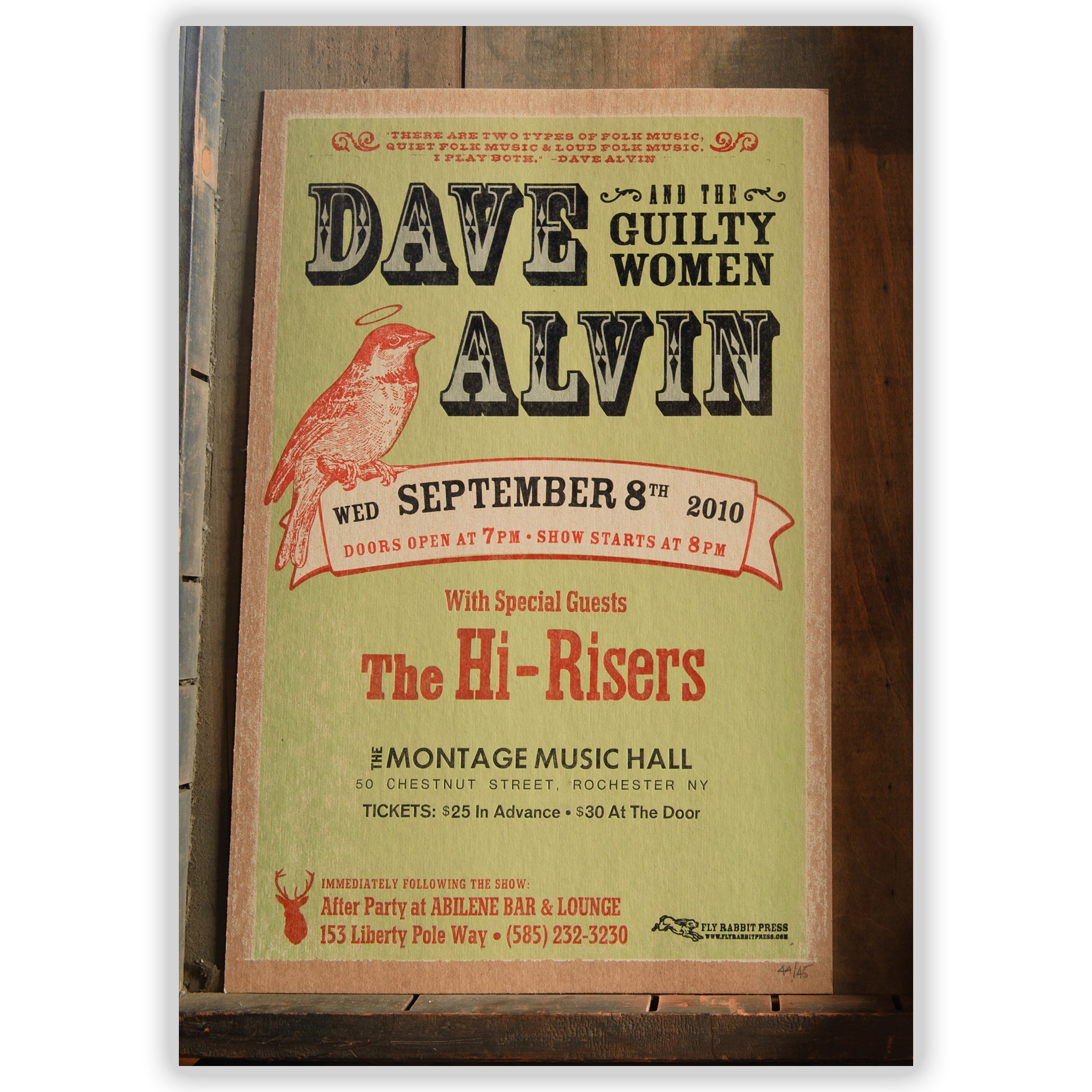 Dave Alvin/Abilene After Party Show Poster