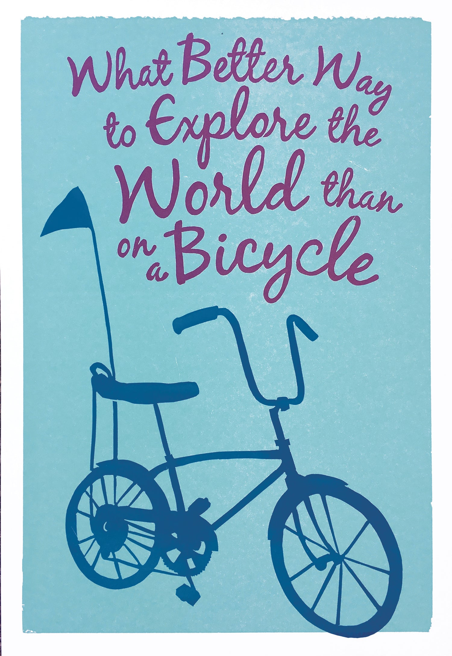 Explore the World Letterpress Bicycle Print