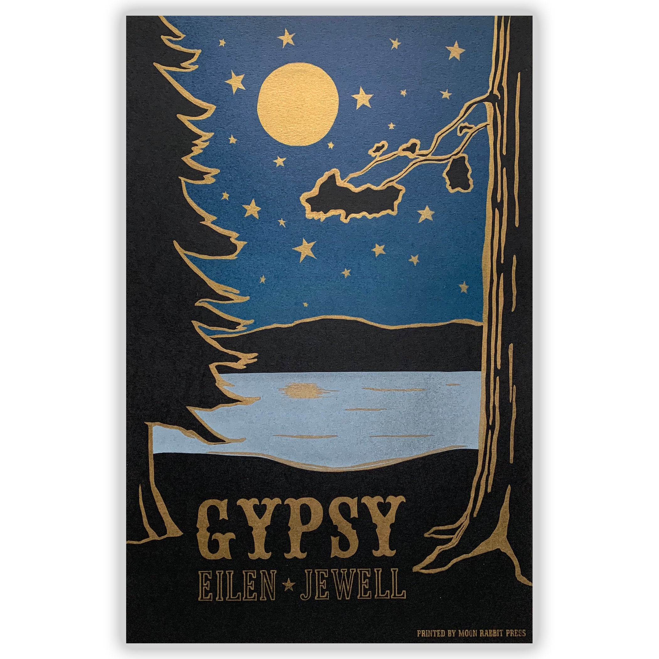 "Eilen Jewell ""Gypsy"" - Moonlit Lake letterpress print"