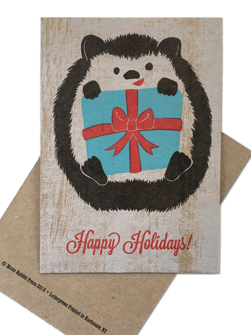 Hedgehog Holiday Card, Letterpress Printed, single-sided, 5x7