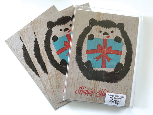 Hedgehog Holiday Card, 8-Pack, Letterpress Printed, single-sided, 5x7