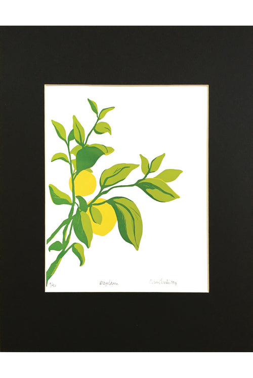 Meyer Lemon Linocut Letterpress print