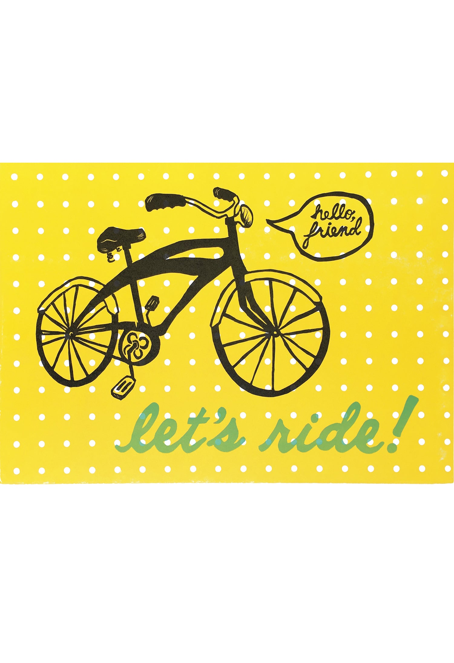 Hello Friend Lets Ride letterpress and linoleum yellow bicycle print